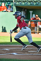 D.J. Burt (1) of the Idaho Falls Chukars at bat against the Ogden Raptors in Pioneer League action at Lindquist Field on August 27, 2015 in Ogden, Utah. Ogden defeated the Chukars 4-3.  (Stephen Smith/Four Seam Images)