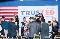 People gather to meet Texas senator and Republican presidential candidate Ted Cruz after he spoke at a town hall at The Alpine Grove banquet center in Hollis, New Hampshire.