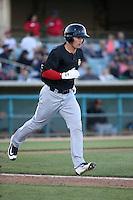 Scott Heineman (18) of the High Desert Mavericks runs to first base during a game against the Lancaster JetHawks at The Hanger on April 16, 2016 in Lancaster, California. Lancaster defeated High Desert, 3-2. (Larry Goren/Four Seam Images)