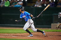 Hudson Valley Renegades outfielder Jose Paez (7) at bat during a game against the Vermont Lake Monsters on September 3, 2015 at Centennial Field in Burlington, Vermont.  Vermont defeated Hudson Valley 4-1.  (Mike Janes/Four Seam Images)