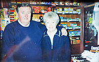 Pictured: Former store owners Alun and Pauline Lewis at Hafod Hardware store in Rhayader, mid Wales, UK. <br /> Re: Shop owner Thomas Lewis Jones has made a Christmas advert starring Arthur Lewis Jones, his two-year-old son costing only £100.<br /> Hafod Hardware in Rhayader, Powys, has been making festive adverts for several years.<br /> This year's advert sees Arthur setting up the shop along with members of his family.