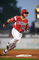Batavia Muckdogs outfielder Alex Fernandez (46) running the bases during a game against the West Virginia Black Bears on August 31, 2015 at Dwyer Stadium in Batavia, New York.  Batavia defeated West Virginia 5-4.  (Mike Janes/Four Seam Images)