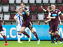 Hearts' Ryan Stevenson (7) celebrates after he scores their second goal.