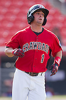 Joe Bonadonna #2 of the Hickory Crawdads hustles down the first base line against the Greensboro Grasshoppers at  L.P. Frans Stadium July 10, 2010, in Hickory, North Carolina.  Photo by Brian Westerholt / Four Seam Images