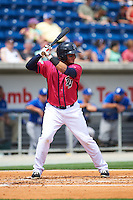 Pensacola Blue Wahoos catcher Yovan Gonzalez (4) at bat during the first game of a double header against the Biloxi Shuckers on April 26, 2015 at Pensacola Bayfront Stadium in Pensacola, Florida.  Biloxi defeated Pensacola 2-1.  (Mike Janes/Four Seam Images)