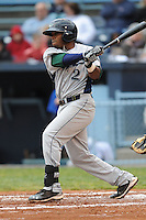 Lexington Legends Delino DeShields Jr. #2 swings at a pitch during a game against  the Lexington Legends at McCormick Field in Asheville,  North Carolina;  April 16, 2011. Lexington defeated Aheville 13-7.  Photo By Tony Farlow/Four Seam Images