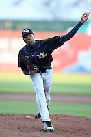 May 3, 2010:  Starting pitcher Aroldis Chapman (51) of the Louisville Bats warms up before the first inning in a game vs. the Buffalo Bisons at Coca-Cola Field in Buffalo, NY.   Louisville defeated Buffalo by the score of 20-7, Chapman got the win on the mound.  Photo By Mike Janes/Four Seam Images