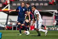 GUADALAJARA, MEXICO - MARCH 28: Jackson Yueill #6 of the United States looking to steal the ball during a game between Honduras and USMNT U-23 at Estadio Jalisco on March 28, 2021 in Guadalajara, Mexico.