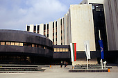 Varna, Bulgaria. SG Express Bank. Modern stone clad bank with banners.