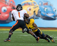 Steve Williams of California tackles James Rodgers of Oregon State during the game at AT&T Park in San Francisco, California on November 12th, 2011.   California defeated Oregon State, 23-6.