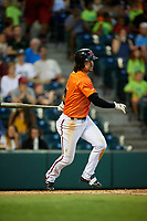Richmond Flying Squirrels center fielder Ronnie Jebavy (1) follows through on a swing during a game against the Trenton Thunder on May 11, 2018 at The Diamond in Richmond, Virginia.  Richmond defeated Trenton 6-1.  (Mike Janes/Four Seam Images)
