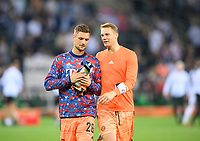 goalwart Manuel NEUER r. (M) with goalwart Sven ULREICH (M) after the game Soccer 1. Bundesliga, 1st matchday, Borussia Monchengladbach (MG) - FC Bayern Munich (M), on August 13th, 2021 in Borussia Monchengladbach / Germany. #DFL regulations prohibit any use of photographs as image sequences and / or quasi-video # Â
