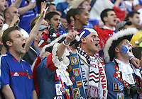 French fans sing their national anthem. The Korea Republic and France played to a 1-1 tie in their FIFA World Cup Group G match at the Zentralstadion, Leipzig, Germany, June 18, 2006.