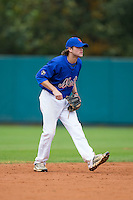 Grant Cox (9) of Greenville High School in Greenville, South Carolina playing for the New York Mets scout team at the South Atlantic Border Battle at Doak Field on November 1, 2014.  (Brian Westerholt/Four Seam Images)