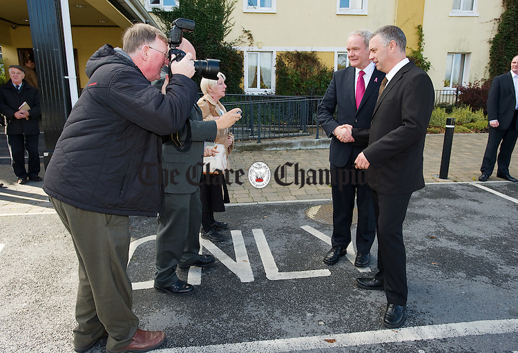 Sinn Fein's presidential candidate Martin Mc Guinness is photographed with Finbarr MacGabhann, of the regional working group of Sinn Féin in Ennis, as he is about to leave the Temple Gate hotel following his visit to Clare on Tuesday. Photograph by John Kelly.