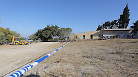 Pictured: The house where Ben Needham disappeared from in Kos, Greece. Saturday 01 October 2016<br /> Re: Police teams led by South Yorkshire Police, searching for missing toddler Ben Needham on the Greek island of Kos have moved to a new area in the field they are searching.<br /> Ben, from Sheffield, was 21 months old when he disappeared on 24 July 1991 during a family holiday.<br /> Digging has begun at a new site after a fresh line of inquiry suggested he could have been crushed by a digger.