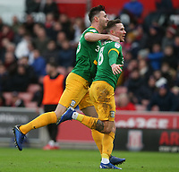 Preston North End's Alan Browne (right) celebrates scoring the opening goal with team-mate Ben Davies<br /> <br /> Photographer Stephen White/CameraSport<br /> <br /> The EFL Sky Bet Championship - Stoke City v Preston North End - Saturday 26th January 2019 - bet365 Stadium - Stoke-on-Trent<br /> <br /> World Copyright © 2019 CameraSport. All rights reserved. 43 Linden Ave. Countesthorpe. Leicester. England. LE8 5PG - Tel: +44 (0) 116 277 4147 - admin@camerasport.com - www.camerasport.com