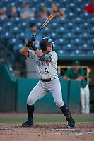 Anthony Volpe (5) of the Hudson Valley Renegades at bat against the Greensboro Grasshoppers at First National Bank Field on September 2, 2021 in Greensboro, North Carolina. (Brian Westerholt/Four Seam Images)