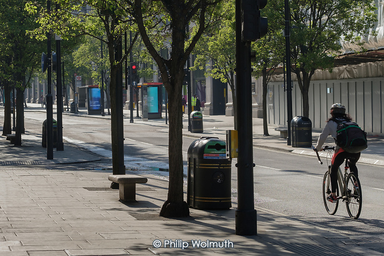 Covid-19 pandemic.  Empty pavements, closed shops and no traffic in Oxford Street, London.