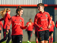 20200911 - TUBIZE , Belgium : Chloe Vande Velde and Isabelle Iliano pictured during the training session of the Belgian Women's National Team, Red Flames ahead of the Women's Euro Qualifier match against Switzerland, on the 28th of November 2020 at Proximus Basecamp. PHOTO: SEVIL OKTEM   SPORTPIX.BE