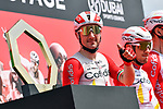 Elia Viviani (ITA) Cofidis at sign on before the start of Stage 6 of the 2021 UAE Tour running 165km from Deira Island to Palm Jumeirah, Dubai, UAE. 26th February 2021.<br /> Picture: LaPresse/Gian Mattia D'Alberto   Cyclefile<br /> <br /> All photos usage must carry mandatory copyright credit (© Cyclefile   LaPresse/Gian Mattia D'Alberto)
