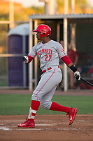 AZL Reds designated hitter Isaias Silverio (27) at bat during an Arizona League game against the AZL Cubs 2 at Sloan Park on June 18, 2018 in Mesa, Arizona. AZL Cubs 2 defeated the AZL Reds 4-3. (Zachary Lucy/Four Seam Images)