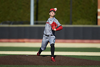Louisville Cardinals starting pitcher Bobby Miller (15) in action against the Wake Forest Demon Deacons at David F. Couch Ballpark on March 7, 2020 in  Winston-Salem, North Carolina. The Demon Deacons defeated the Cardinals 3-2. (Brian Westerholt/Four Seam Images)