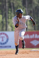 Wilmington Blue Rocks second baseman Rey Navarro #28 running the bases against the Myrtle Beach Pelicans at BB&T Coastal Field in Myrtle Beach, South Carolina on April 10, 2011.   Photo By Robert Gurganus/Four Seam Images