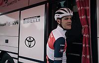 Jasper Stuyven (BEL/Trek-Segafredo) at the race start in Compiègne<br /> <br /> 118th Paris-Roubaix 2021 (1.UWT)<br /> One day race from Compiègne to Roubaix (FRA) (257.7km)<br /> <br /> ©kramon