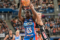 6th June 2021; Ken Rosewall Arena, Sydney, New South Wales, Australia; Australian Suncorp Super Netball, New South Wales, NSW Swifts versus Giants Netball; Samantha Wallace of NSW Swifts catches the ball under pressure from Matilda McDonell of  Giants Netball