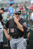 Erie Sea Wolves manager Lance Parrish (13) during game against the Trenton Thunder at ARM & HAMMER Park on May 15, 2014 in Trenton, NJ.  Erie defeated Trenton 4-2.  (Tomasso DeRosa/Four Seam Images)