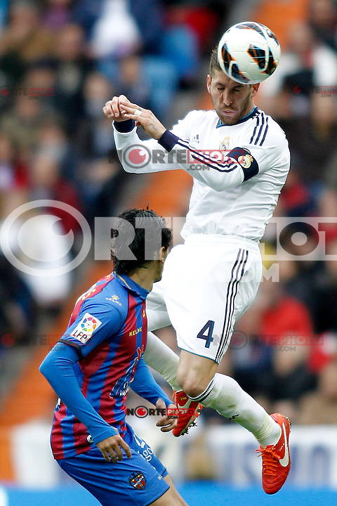 Real Madrid's Sergio Ramos and Levante's Pedro Rios during La Liga BBVA match. April 6, 2013.(ALTERPHOTOS/Alconada)
