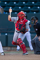 Salem Red Sox catcher Jayson Hernandez (24) fakes a throw to third base during the game against the Winston-Salem Dash at BB&T Ballpark on April 20, 2014 in Winston-Salem, North Carolina.  The Dash defeated the Red Sox 10-8.  (Brian Westerholt/Four Seam Images)