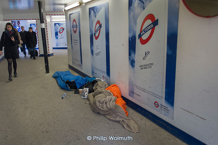 Rough sleepers, Victoria station, London.