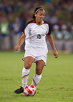 Angela Hucles. The USWNT defeated Brazil, 1-0, to win the gold medal during the 2008 Beijing Olympics at Workers' Stadium in Beijing, China.