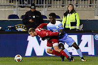 Chester, PA - Friday December 08, 2017: Rece Buckmaster, Jelani Pieters The Indiana Hoosiers defeated the North Carolina Tar Heels 1-0 during an NCAA Men's College Cup semifinal soccer match at Talen Energy Stadium.