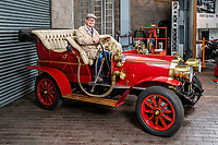 BNPS.co.uk (01202 558833)<br /> Pic: MaxWillcock/BNPS<br /> <br /> Pictured: National Motor Museum's Ben Wanklyn in Mr Toad's car.<br /> <br /> Mr Toad's car from Wind in the Willows has gone on display after a painstaking restoration following years of neglect.<br /> <br /> The vehicle was made for the 1996 film adaptation of Kenneth Grahame's classic 1908 children's book starring Terry Jones as the obsessive amphibian.<br /> <br /> The car, which appears to be from the Edwardian era, was actually built in 1995 at Shepperton Studios for the film.<br /> <br /> Following the film's release, it was transported to America, where it spent many years hanging from the ceiling of a Florida restaurant.<br /> <br /> It was brought back to Britain last year in a dilapidated state and has been restored at the National Motor Museum workshop in Beaulieu, Hants, where visitors can see it driven around the grounds.