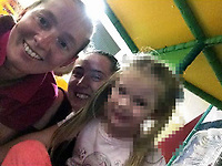"""Pictured: (L-R) Tyler Denton with Hayley Barnett<br /> Re: A 25th birthday party  ended in a knife attack leaving one woman dead and her two sisters and father seriously injured, a jury has heard.<br /> Tyler Denton had been celebrating the birthday of her partner Hayley Barnett's with Shannen and Cody Denton at the home she shared with her friend Redvers Bickley.<br /> But Mr Bickley, 21, made the attack in Rhyl, Denbighshire, north Wales, after feeling """"resentful and angry"""" he had been left out.<br /> He denies murder and attempted murder.<br /> The trial at Mold Crown Court heard the three sisters and Ms Barnett had been having """"a very jolly evening"""" laughing, joking and taking selfies.<br /> John Philpotts QC for the CPS said Mr Bickley had been out of the house drinking until 9pm on 10 September 2017.<br /> The jury were told that the defendant """"felt resentful and angry at his exclusion"""" from the group's evening."""