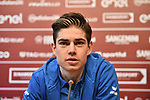 The press conference on the eve of the Strade Bianche and the Strade Bianche Women Elite featured Cyclocross World Champion Wout Van Aert (BEL) held in Palazzo Sansedoni in Piazza del Campo, Siena, Italy. 2nd March 2018.<br /> Picture: LaPresse/Massimo Paolone | Cyclefile<br /> <br /> <br /> All photos usage must carry mandatory copyright credit (© Cyclefile | LaPresse/Massimo Paolone)