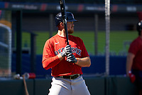 Boston Red Sox Christian Arroyo (39) on deck during a Major League Spring Training game against the Atlanta Braves on March 7, 2021 at CoolToday Park in North Port, Florida.  (Mike Janes/Four Seam Images)