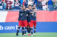FOXBOROUGH, MA - JULY 25: Gustavo Bou #7 of New England Revolution celebrates his goal during a game between CF Montreal and New England Revolution at Gillette Stadium on July 25, 2021 in Foxborough, Massachusetts.