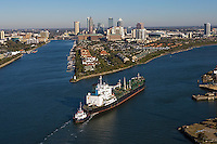 tug boat with oil tanker Overseas Philadelphia approaching Port of Tampa Florida