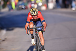 Vincenzo Nibali (ITA) Bahrain-Merida descends the Poggio di Sanremo alone during the 109th edition of Milan-Sanremo 2018 running 294km from Milan to Sanremo, Italy. 17th March 2018.<br /> Picture: LaPresse/POOL Tim De Waele| Cyclefile<br /> <br /> <br /> All photos usage must carry mandatory copyright credit (© Cyclefile | LaPresse/POOL Tim De Waele)