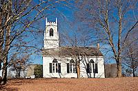 Quaint autumn church, Weston, VT, Vermont, USA