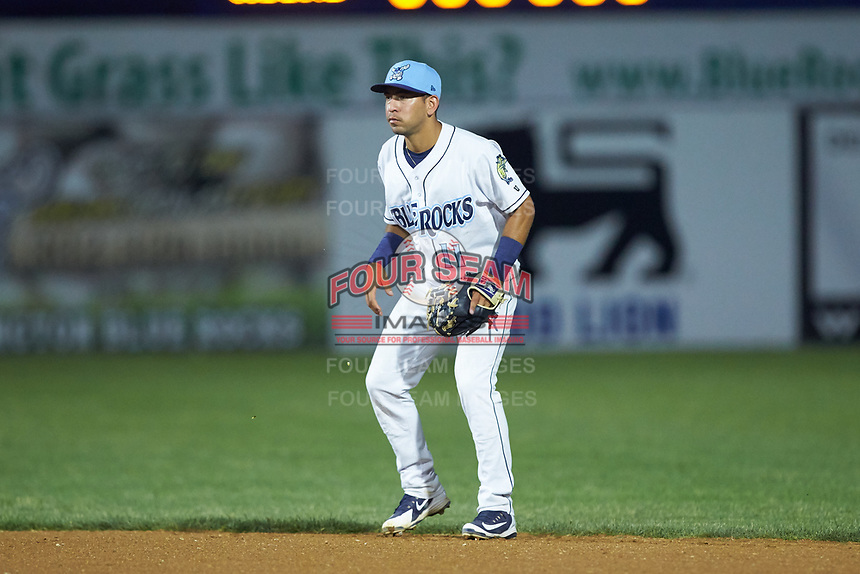 Wilmington Blue Rocks shortstop Cristian Perez (11) on defense against the Fayetteville Woodpeckers at Frawley Stadium on June 6, 2019 in Wilmington, Delaware. The Woodpeckers defeated the Blue Rocks 8-1. (Brian Westerholt/Four Seam Images)