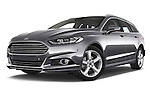 Stock pictures of low aggressive front three quarter view of a 2015 Ford Mondeo Titanium 5 Door Wagon 2WD Low Aggressive