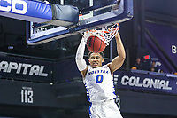 Washington, DC - March 10, 2020: Hofstra Pride guard Tareq Coburn (0) dunks the ball during the CAA championship game between Hofstra and Northeastern at  Entertainment and Sports Arena in Washington, DC.   (Photo by Elliott Brown/Media Images International)