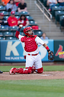Springfield Cardinals catcher Jose Godoy (27) during a Texas League game against the Amarillo Sod Poodles on April 25, 2019 at Hammons Field in Springfield, Missouri. Springfield defeated Amarillo 8-0. (Zachary Lucy/Four Seam Images)