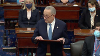 In this image from United States Senate television, US Senate Minority Leader Chuck Schumer (Democrat of New York) makes remarks as the US Senate reconvenes to resume debate on the Electoral Vote count following the violence in the US Capitol in Washington, DC on Wednesday, January 6, 2021.<br /> Mandatory Credit: US Senate Television via CNP/AdMedia