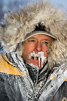 Portrait of Jeff King @ arrival Ruby Chkpt -30 temps w/frozen moustache 2006 Iditarod Alaska Winter